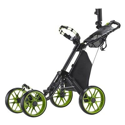 CaddyTek CaddyCruiser ONE v3 Folding 4 Wheel Golf Buggy / Push Cart - Lime