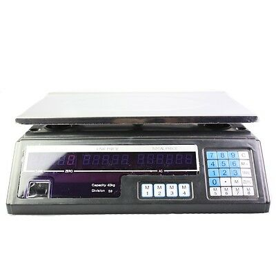 Kitchen Electronic Computing Digital Scale Weight 40KG Black Food Commercial