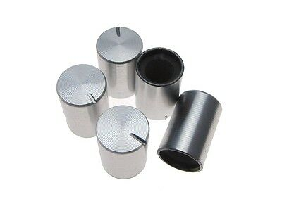 Aluminum Knob Cap for 6mm Knurled Shaft Pot  10*15mm - Silver - Pack of 5