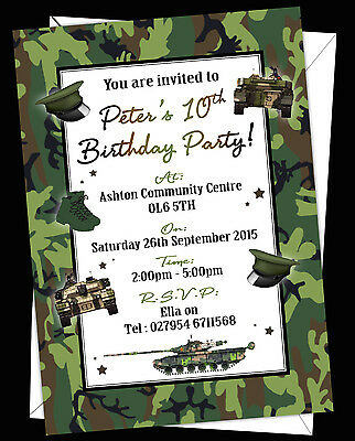 Personalised Boy Kids Birthday Invitations Invites Army Soldier Camouflage Theme