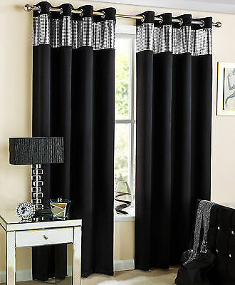 Pair of Sparkle Glitter Heavy Thermal Blackout Eyelet Ring Top Curtains, Black