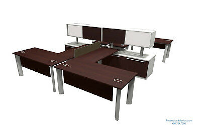 Set of 6 Person L Shaped Office Workstations Benching Systems Furniture 4 COLORS