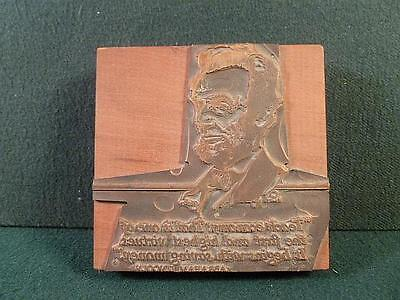 Vintage Copper Printer Plate Block Bust of Abraham Lincoln-Teach Economy-BL