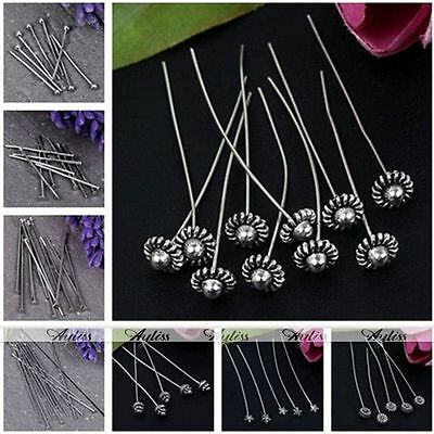 Silvery Copper Ball/Flat/Flower Top Head Pin Jewelry Finding Craft DIY Wholesale