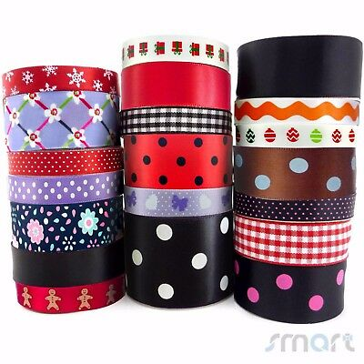 """20x1 Yards Assorted Satin Ribbon 20 Styles 3/8""""--1.5"""" Black Red Theme Craft Bow"""