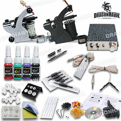Professional Complete Tattoo Kit 2 Top Machine Gun 4 Inks Power Supply