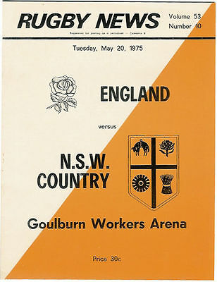 ENGLAND 1975 RUGBY TOUR PROGRAMME v NSW COUNTRY 20 May Goulburn Workers Arena