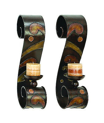 CANDLE WALL SCONCE Scroll Holder Metal Decor Iron Art - $17.99 ...