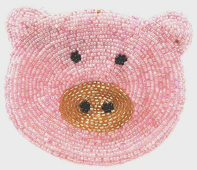 Pig Beaded purse Cross Body Strap coin purse Ladies Purse