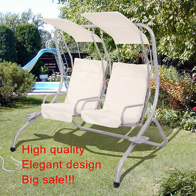 Garden Patio Metal Swing Chair Seat 2 Seater Hammock Swinging Cushioned W/2 Tray