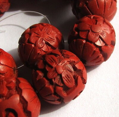 11 Beautiful Hand Carved Cinnabar Vintage Beads  @@