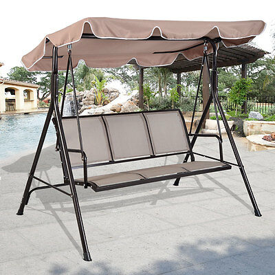 Luxury 3 Seater Swinging Garden Hammock Swing Chair Outdoor Bench Seat Lounger