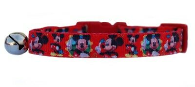 Handmade fabric Red  Mickey Mouse  safety kitten cat collar bell 3 sizes