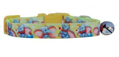 Handmade fabric Yellow pink Disney Dumbo safety kitten cat collar bell 3 sizes