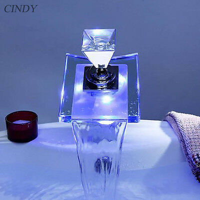 LED Bathroom Sink Faucet Vessel Waterfall Glass One Hole / Handle Discount Tap