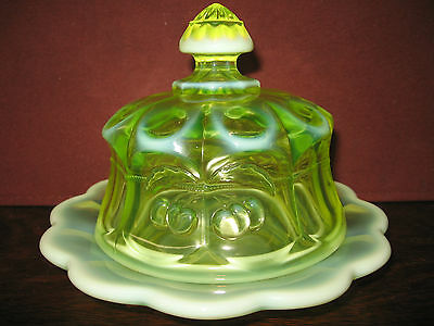 vaseline opalescent Glass serving domed butter dish cherry and cable uranium art