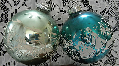 2 Vtg Shiny Brite Turquoise Stagecoach Horses & Carolers Stencil Xmas Ornaments