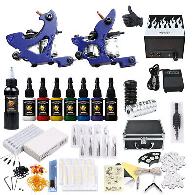 Professional Complete Tattoo Kit 2 Top Machine Gun 7 Inks 50 Needle Power Supply