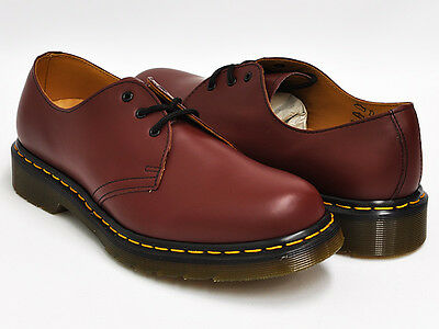 Dr. Martens Men's 1461 Gibson 3-Tie Shoe Cherry Red Smooth ALL Sizes!