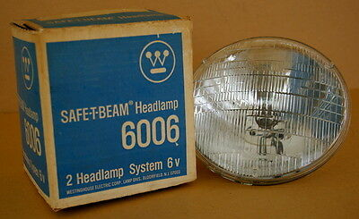 VINTAGE 6 Volt, NOS WESTINGHOUSE 6006 SEALED BEAM HEADLIGHT, FOR TWO LAMP SYSTEM