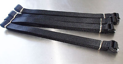 4-pack of 3.0m TOUGH Ladderloc Buckle Straps Black - Ladderlock, Lashing Tiedown
