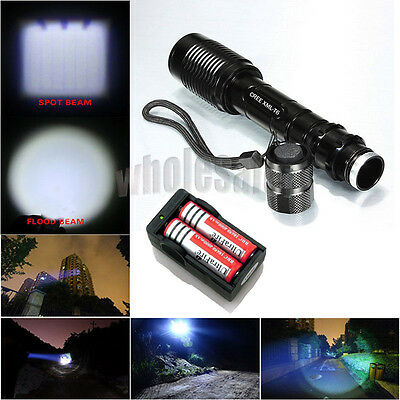 CREE XM-L T6 LED Ultrafire 2000 Lumen Flashlight Torch Zoomable+18650 +Charger