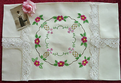 Lovely Vintage Hand Emb Linen Tablecloth Roses Unused
