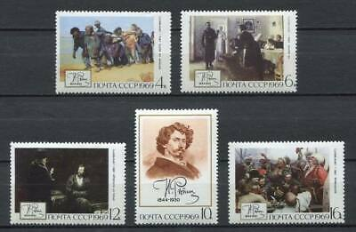28973) RUSSIA 1969 MNH** Nuovi** Repin Paintings 5v.