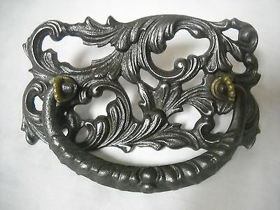 """Antique Cast Iron Ornate Drawer Pull 3"""" Centers"""