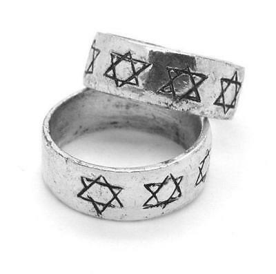 Vintage pewter ISRAEL Star of David Jewish Hebrew Messianic ring SIZE 9.5 NEW
