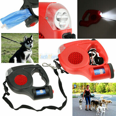 5M Dog Traction Rope Automatic Retractable Leash 3 LED Lights With Garbage Bag