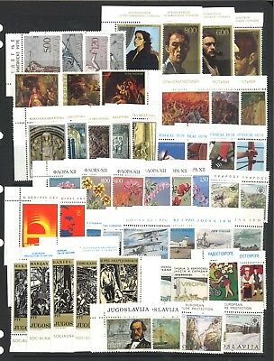 Yugoslavia 16 Different Complete Mint Unhinged Stamp Sets - 58 Mint Stamps