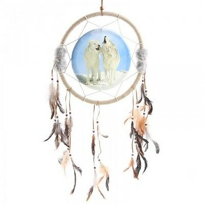 Attrape Reve Dreamcatcher Beige/bleu Couple Loups Hurlant Diametre 33 Cm