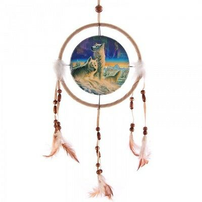 Attrape Reves Dreamcatcher Beige Loup Arctique Diametre 16 Cm