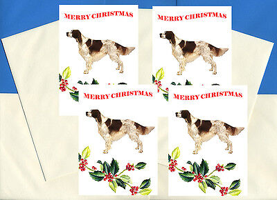 Irish Red And White Setter  Pack Of 4 Cards Dog Print Greeting Christmas Cards