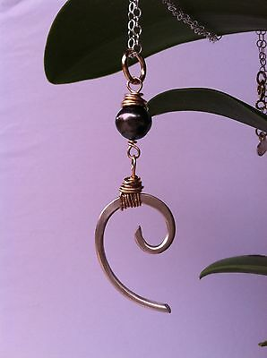 Tahitian Pearl & Argentium Silver Hand Hammered Wave Necklace with 14K Gold Wrap
