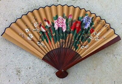 Large Chinese Hand Painted Fan Floral With Birds ,signed