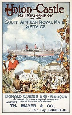 Vintage Union Castle Line Shipping to South Africa Poster  A3 Print