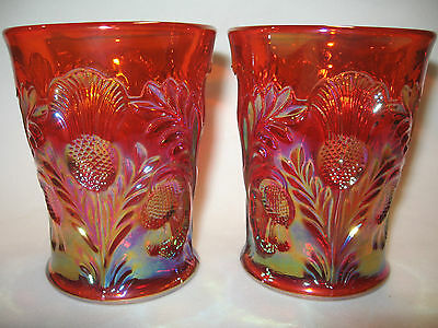 pair of marigold carnival glass inverted thistle pattern tumblers cup goblet set