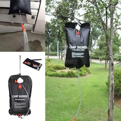 Portable Outdoor Solar Heat Shower Pipe Bag Storage Water Carrier 20L