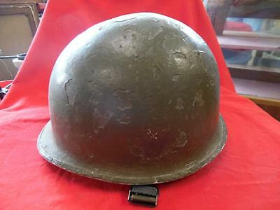 WWII ARMY HELMET WITH LINER AND ORIGINAL CRUSTY PAINT