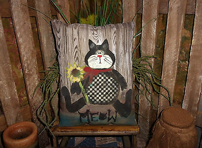 * Primitive Black Sitting Cat Pillow - hand painted rusty doll 8x10in ^21*