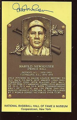Hal Newhouser Autographed Yellow Hall of Fame Plaque Hologram