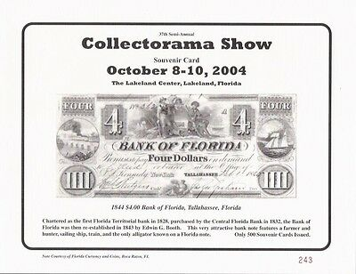 L23 1861 $10 State of Florida CR5 February 2003 Collectorama Souvenir Card