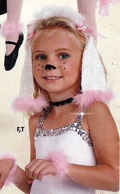 NWT Poodle Pkt Dance Costume Accessories Ears, Tail, Feather wristlets, collar