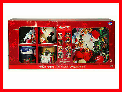 Coca Cola Brand Holiday Portraits 8 Piece Stoneware Set Style No. MW178X8DS.