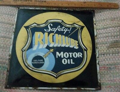 Richlube motor oil  porcelain sign gas and oil