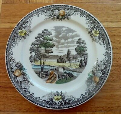 Collector plate. Transfer ware plate. River scene . Made in Japan.  Vintage 1940