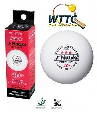 Nittaku JAPAN 40+ mm Premium Three Stars Table Tennis Balls 3PCS (MADE IN JAPAN)