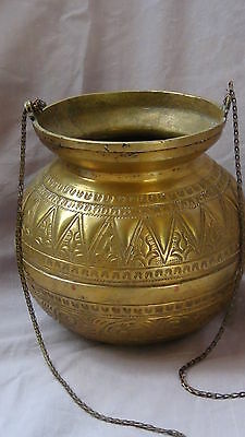 ANTIQUE 19c ARABIC ISLAMIC BRASS INGRAVED RELIEF ORNAMENT VESSEL,POR WITH CHAIN